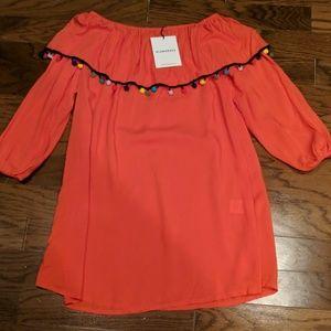 Glamorous long sleeve pom pom dress off shoulder